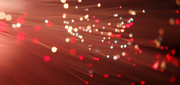 Fibernettet består af meget tynde tråde, hvor der sendes lys igennem. Her set med hvidt lys.