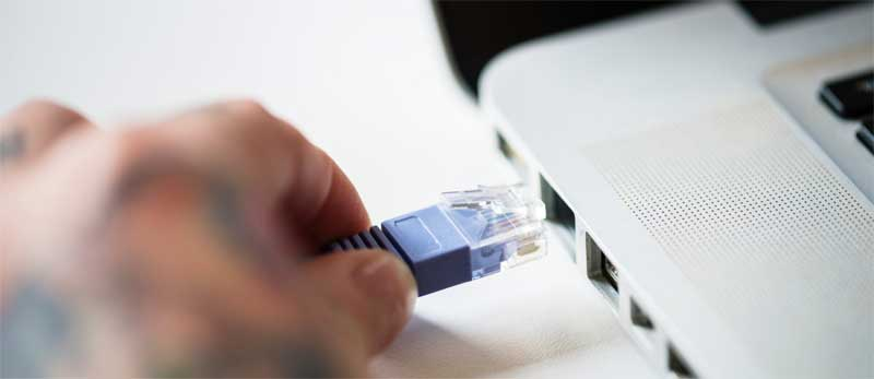 Kablet forbindelse til internettet ved hastighedstest