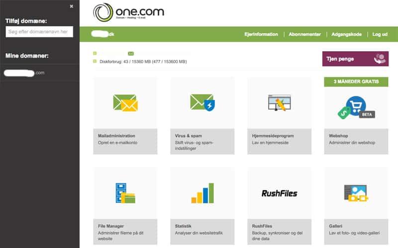 one.com webhotel kontrolpanel