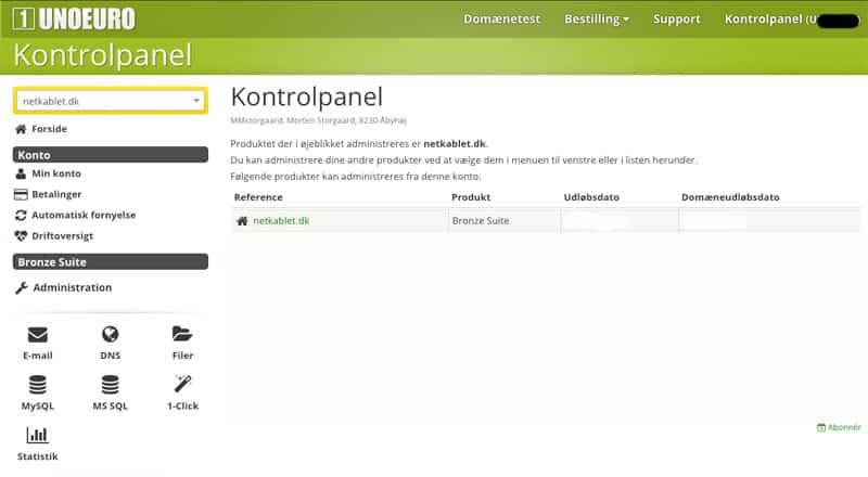 Unoeuro webhosting og webhotel