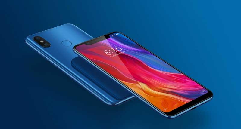 mi8 Xiaomi mobilen set forfra og bagfra