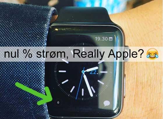 Ingen strøm tilbage på Apple Watch