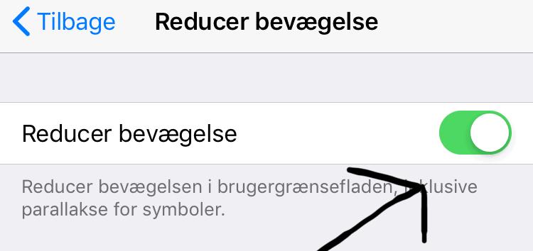 Reducer iPhones bevægelser (spare strøm)