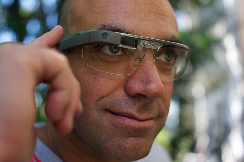 Google glasses on mans head