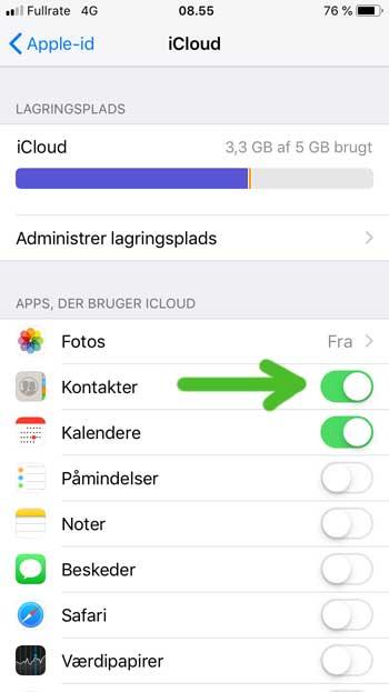 gem kontakter på iPhone med iCloud