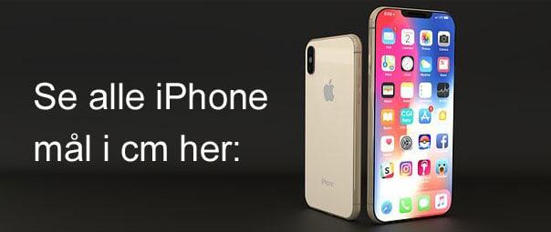 Dimensioner på alle iPhone modeller i centimeter (sammenligning)